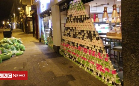 102798086 img 20180724 025818 - Artist's paper cup pyramid highlights waste problem