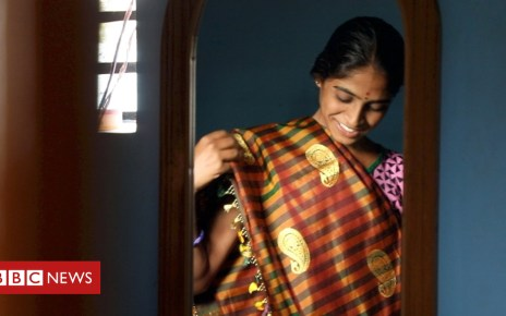 102897992 holding wide sari2b - The farmers using sewage to make saris
