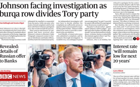 102904259 10aug1front01 - Newspaper headlines: Johnson 'divides' Tories and Ant's year-off