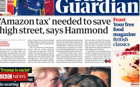 102930570 guardian - Newspaper headlines: 'Amazon tax' to save high street