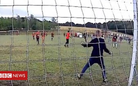 103096452 harrison - Son's goalkeeping debut for Sheffield team video goes viral