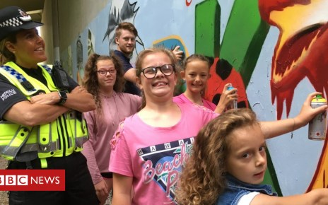 103101983 pontypriddwarmemorialgraffiti - Children's colourful mural erases Ynysangharad racist graffiti