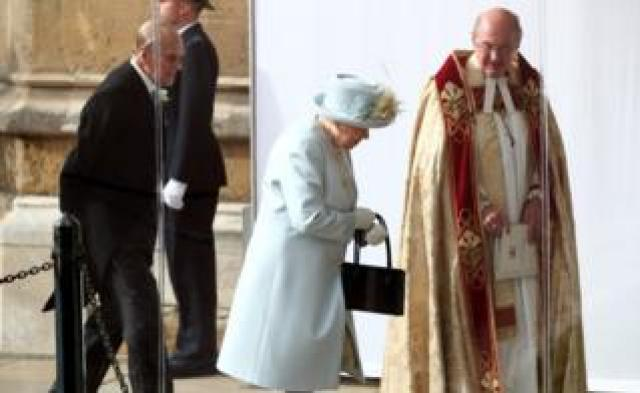 """Queen Ellzabeth II and the Duke of Edinburgh arrive ahead of the wedding of Princess Eugenie to Jack Brooksbank at St George""""s Chapel in Windsor Castle"""