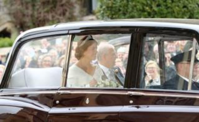 Princess Eugenie arrives ahead of her wedding