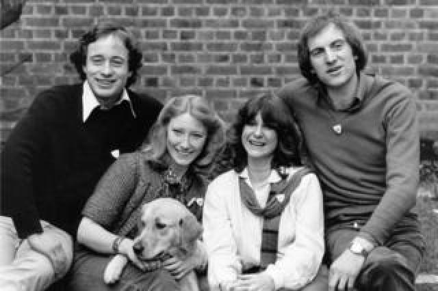 Blue Peter presenters Christopher Wenner, Lesley Judd, 'Goldie' the dog, Tina Heath and Simon Groom