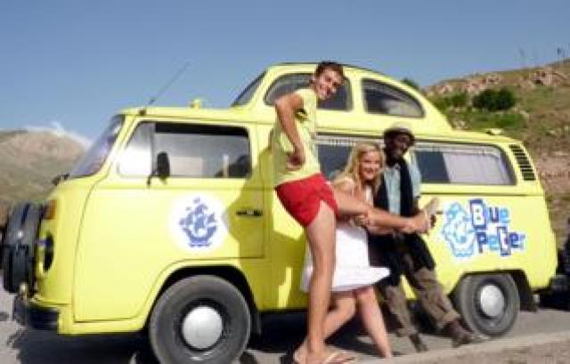 Blue Peter presenters Joel DeFries, Helen Skelton and Andy Akinwolere