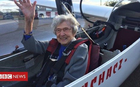 103691678 p06mvlmr - Woman, 99, takes to the skies over Suffolk in glider