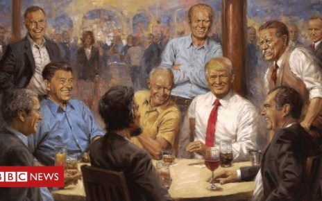 103870445 70884a0b 5702 4705 87b9 2e30c77b9089 - Painting of Trump among past presidents seen at White House