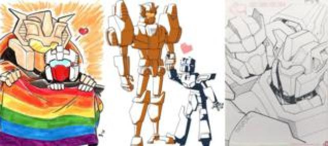 Artwork of Chromedome and Rewind by More than Meets the Eye fans @Spriteling113, Atticus Tsai-McCarthy, Winston Chan / @CWingsyun as part of the #LostLightFest