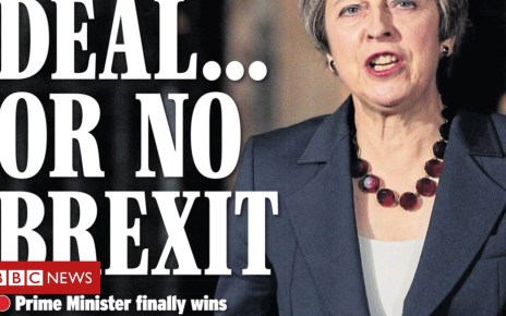 104345309 ex15 - Newspaper headlines focus on Theresa May's Brexit battle