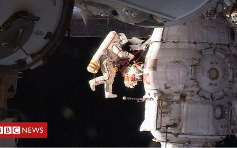 104747143 p06vbqzn - Samples cut around Soyuz hole in spacewalk
