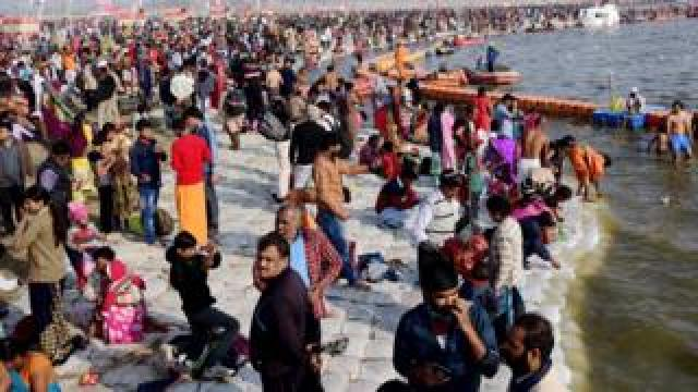 Crowds on the banks of the river in Allahabad