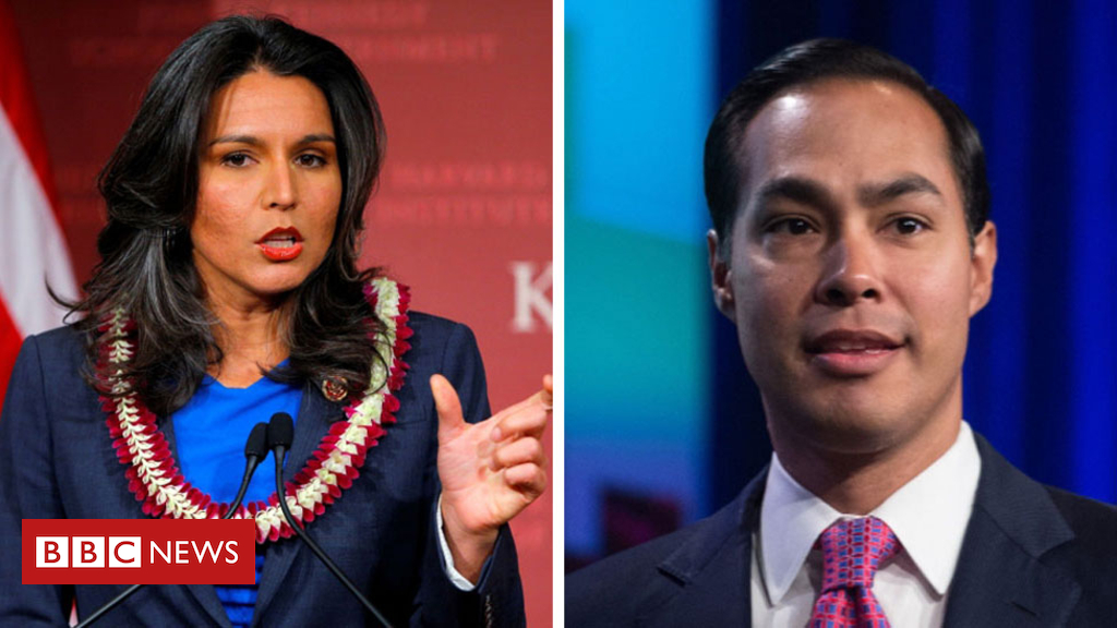 105162588 composite - US Democrats Castro and Gabbard make bids for presidency