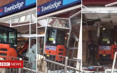 105299150 p06ysgzx - Travelodge Liverpool: Digger driver wrecks hotel reception