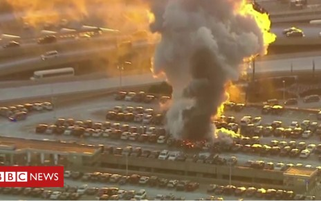 105424091 p06zmxvc - New Jersey: Cars destroyed in Newark Airport fire