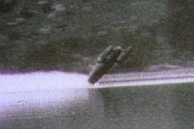 Bluebird flips out of the water at Coniston in January 1967 in the crash which killed Donald Campbell