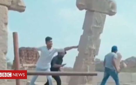105560597 hampi - Four held as Indian monument pushed over