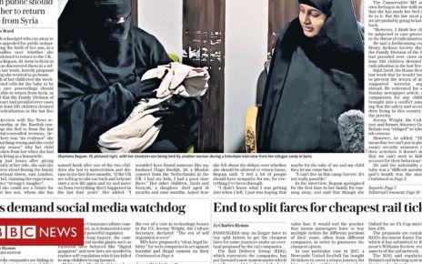 105684543 f57ba713 aa29 4e6f b76d 9bf3947a2b0e - Newspaper headlines: IS bride pleads for sympathy