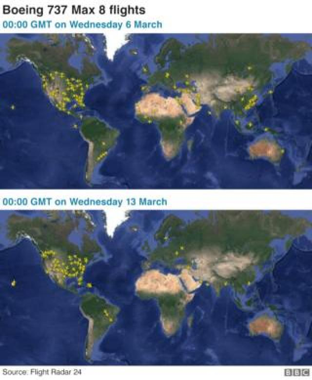 Maps showing the number of 737 Max 8 flights before and after the grounding of aircraft