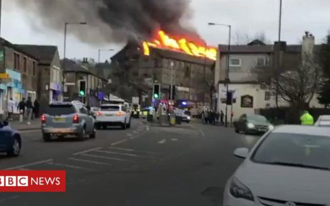 106091400 p0740vhp - Firefighters tackle large Bradford mill blaze