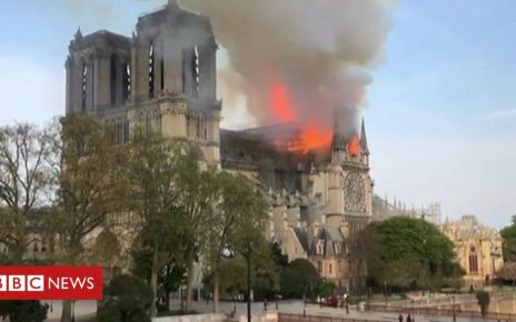 106462593 p076kw6q - Notre Dame fire: Flames have broken out at the cathedral in Paris