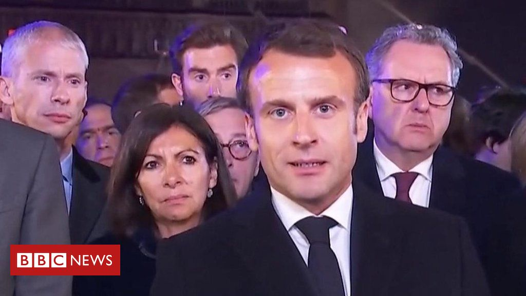 106465071 p076lhdn - Notre-Dame: The French president says the cathedral will be rebuilt following fire