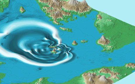 p07607bm - Anak Krakatau: Collapsed volcano's tsunami simulated