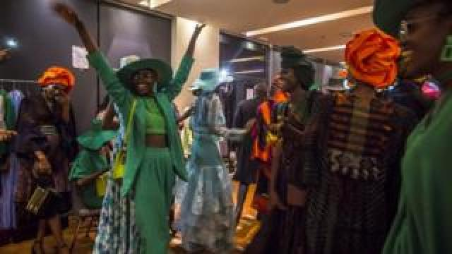 Models backstage during Dakar Fashion Week in Dakar, Senegal
