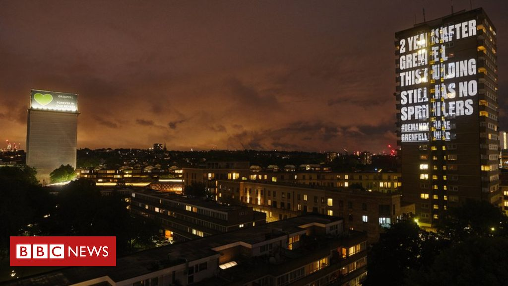 107358963 grenfell projection  wide - Grenfell survivors project messages on 'unsafe' tower blocks