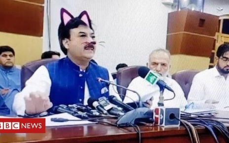 107408378 pakistanipoliticiancatfilter1 - Cat filter accidentally used in Pakistani minister's live press conference