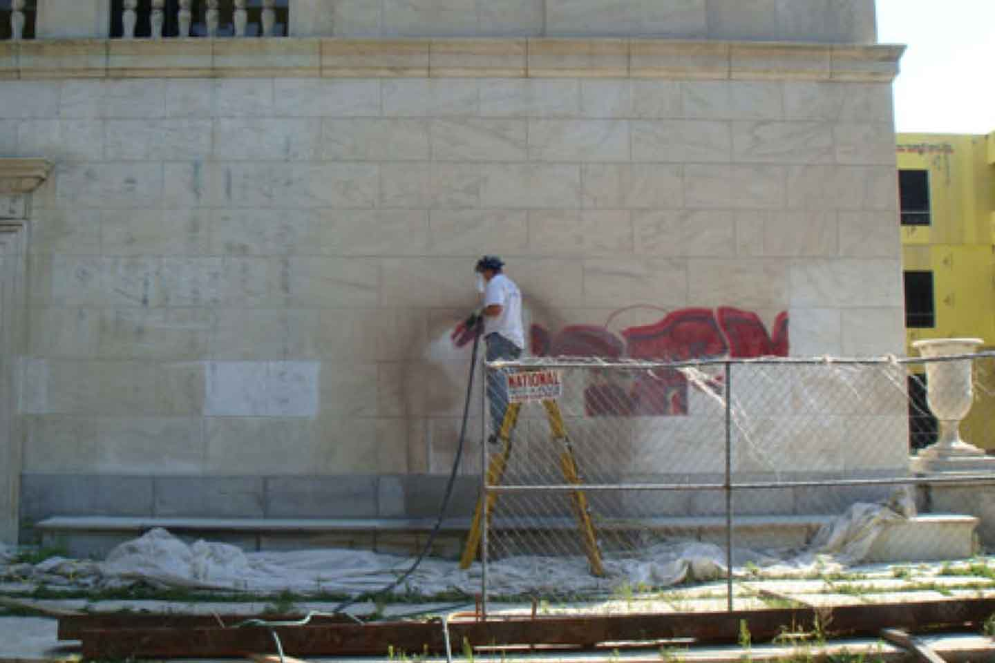 Vail Mansion Historical Building - Cleaning/Graffiti Removal Using Farrow System