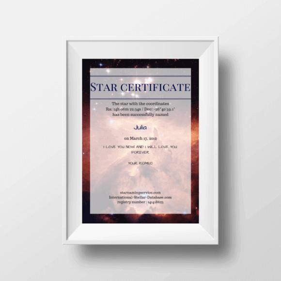 Star Naming Certificate USA