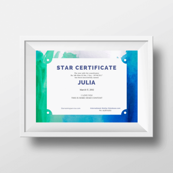 Buy A Star For Someone Certificate 7