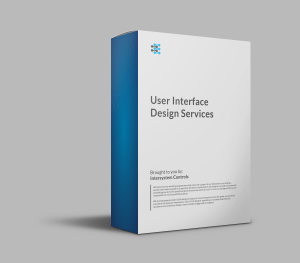 A product image of a blue and white box for User Interface Design Services.