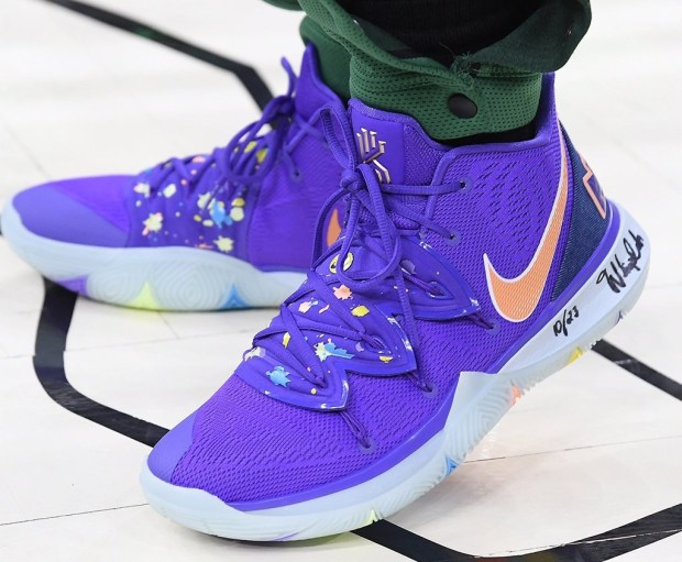 info for 72e19 3215b Milwaukee Bucks Kyrie Irving in the Nike Kyrie 5 PE vs.