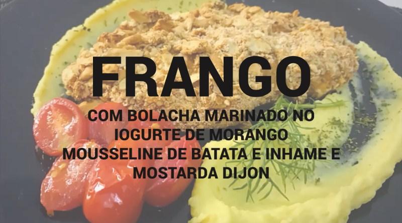 Frango com bolacha marinado no iogurte de morango com mousseline de batata e inhame e mostarda dijon
