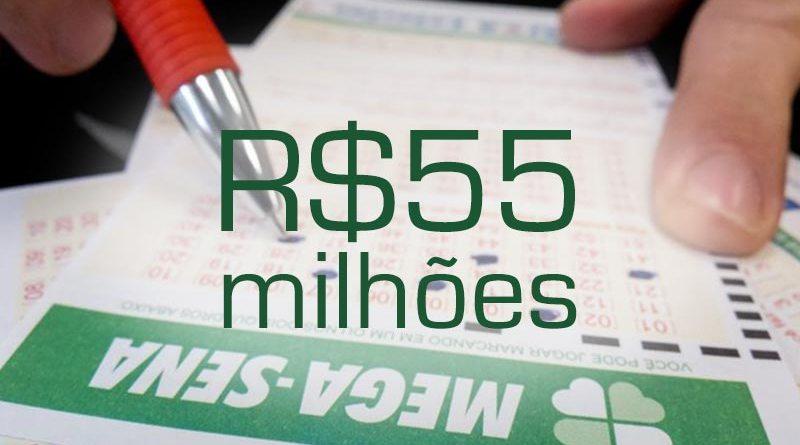 Mega-Sena acumula e prêmio chega a R$ 55 milhões