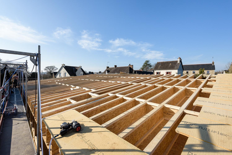 LAB, réhabilitation, suivi de chantier Ossature bois / paille, Salle des fêtes, Laurenan (22)