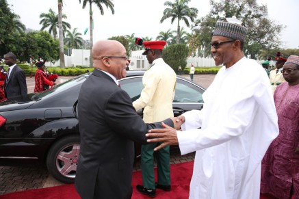 Presidents Jacob Zuma and Buhari of South Africa and Nigeria respectively, the two leading economic powers on the continent.