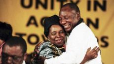 Dlamini-Zuma and Ramaphosa in an embrace