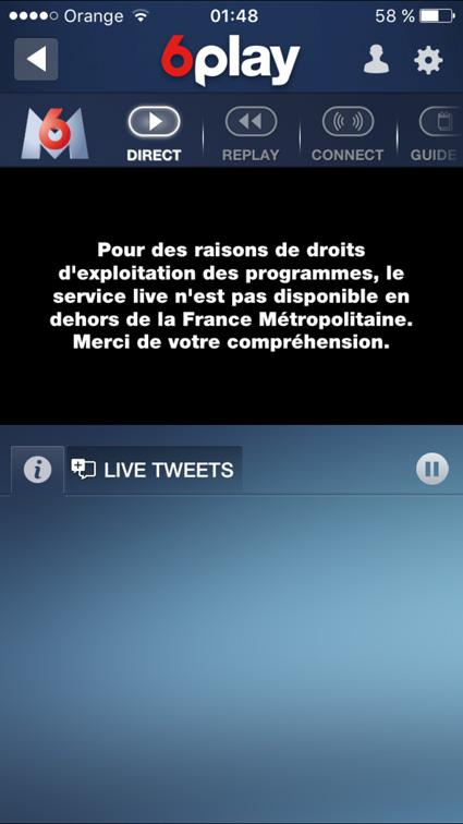unblock service live n'est pas disponible en dehors de France
