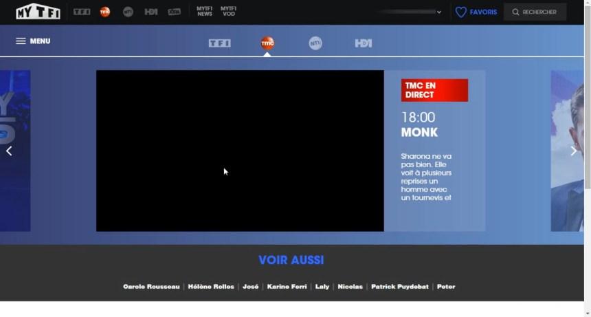 direct TMC live stream écran noir, bloqué