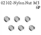 02102 - Nylon locknut M3*6PCS 3