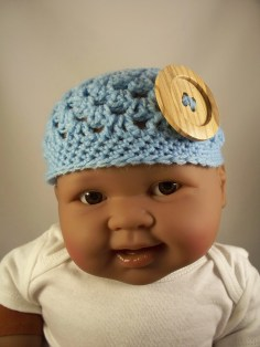 Blue Crochet Baby Hat Button