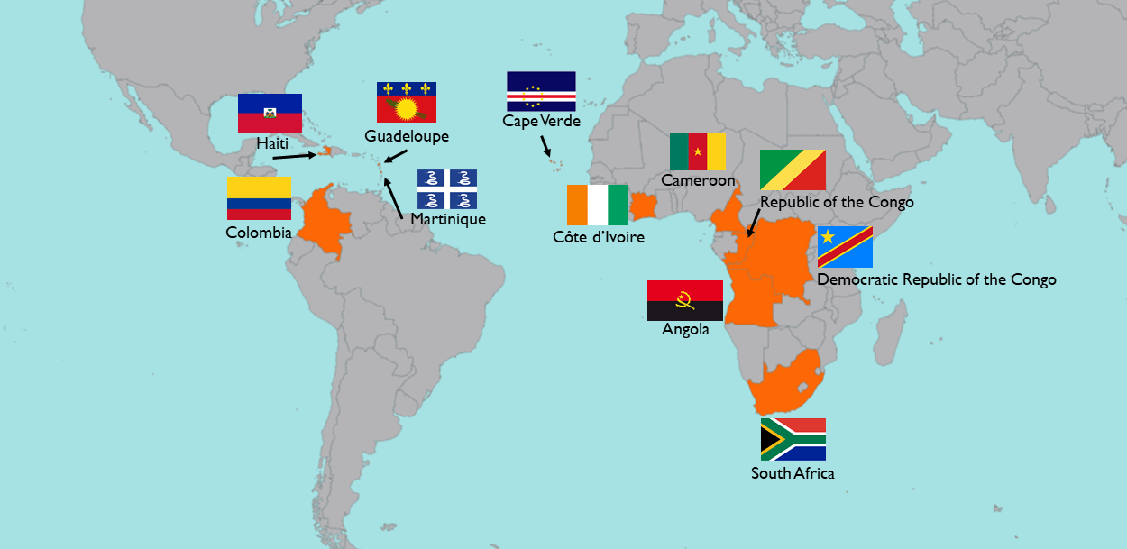 map highlighting source countries and flags of dance music genres from Africa and the African diaspora