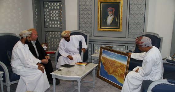 FLTR: Mr. Khalid Al Toubi, Mr. Henning Schwarze (both INTEWO), H.E. Mohammed Altobi (Minister of Environment and Climate Affairs) and Mr. Ali Al-Kiyumi (DG Nature Conservation) during a meeting in the Minister's office