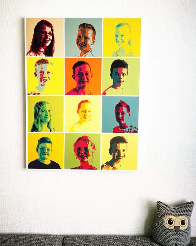 Het resultaat. Groep 8 op canvas, pop art style