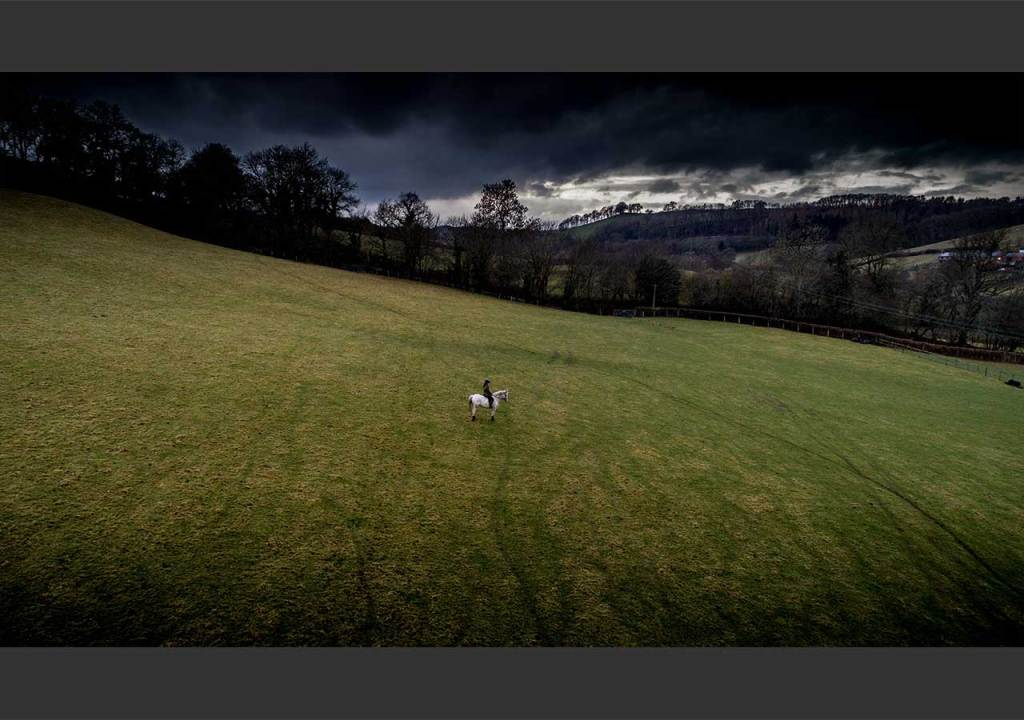 Aerial shot of Cerys Jones with her pony Phantom on their last ride