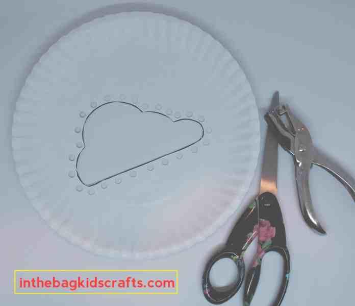 Easy Kids' Craft DIY Cloud Weaving with Washi Tape Rainbow step 2