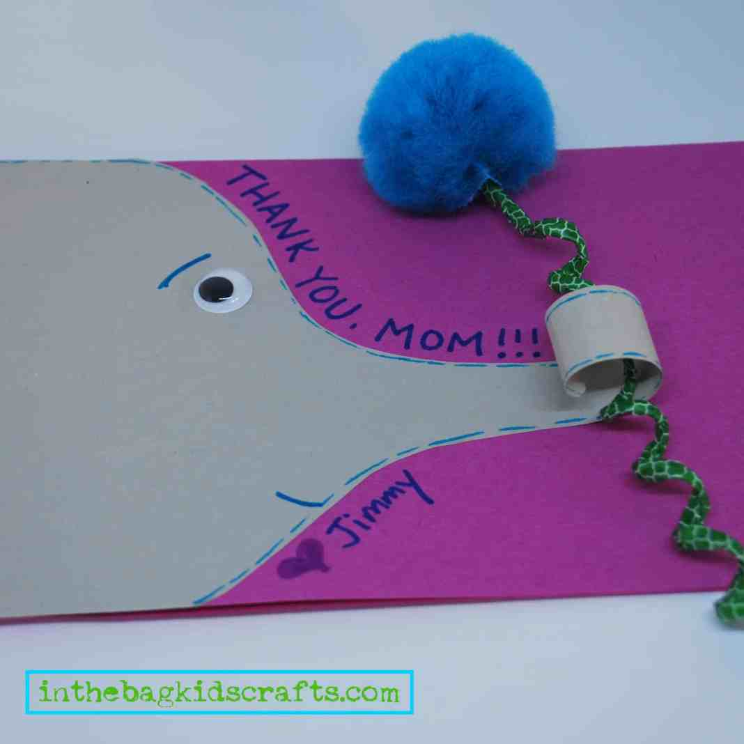 Elephant Thank You Card Kids Craft